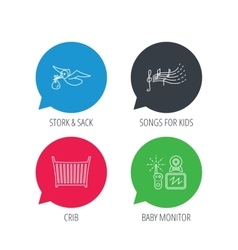 Baby monitor crib bed and songs for kids icons vector
