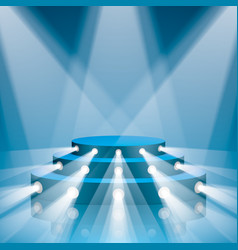 Blue concert scene with projector lighting vector