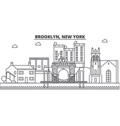 Brooklyn new york architecture line skyline vector