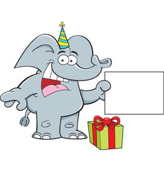 Cartoon elephant holding a sign vector image vector image