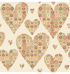 Cartoon hearts and circles seamless pattern vector image vector image