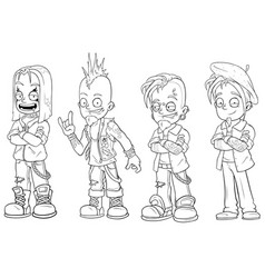 cartoon punk rock metal guys character set vector image vector image