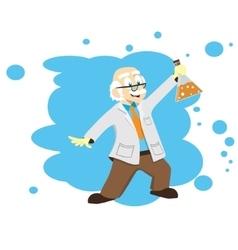 Cartoon scientist doctor professor with a flask vector