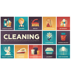 Cleaning - modern flat design icons set vector