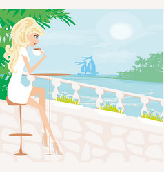 Coffee shop in a summer seaside resort vector