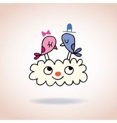 Cute love birds on cloud vector image vector image