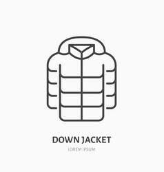 down jacket flat line icon cold weather clothing vector image vector image
