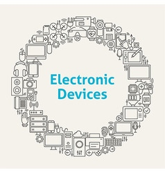Electronic devices line art icons set circle vector