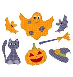 Halloween patchwork set vector
