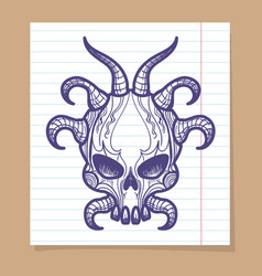 Hand sketched monsters skull with horns vector