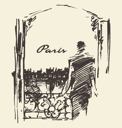 Man paris skyline window sketch vector