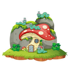 mushroom house with four caterpillars vector image