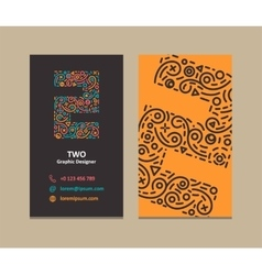 Number 2 logo business card vector