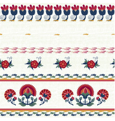 seamless ethnic floral pattern red on white vector image