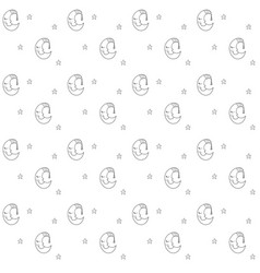 Seamless pattern with cartoon sleeping moon in vector