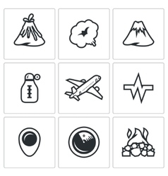 Set of volcano icons eruption smoke hill vector