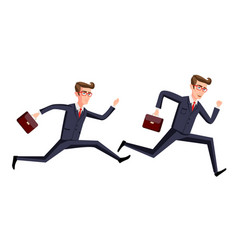 silhouette of a businessman running with vector image