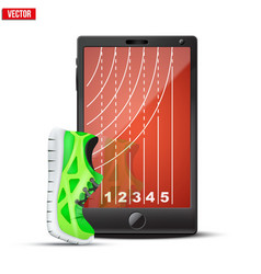 Smartphone with run shoes and running track on the vector image vector image
