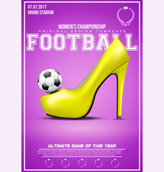 Sporting poster of womens football vector