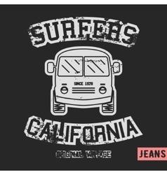 Surfer bus vintage stamp vector image vector image