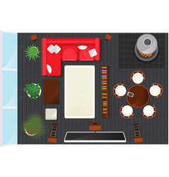 top view modern living room interior element vector image