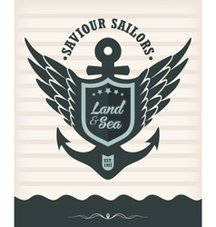 Vintage label with maritime style vector image