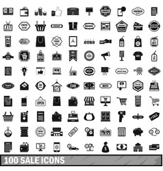 100 sale icons set simple style vector