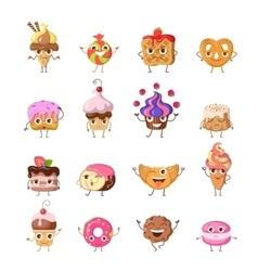 Set of funny dancing sweets in flat design vector