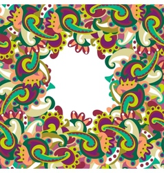 Colorful paisley frame vector