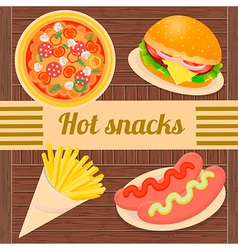 Hot snacks pizza hamburger sausages french fries vector