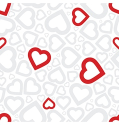 Bright love red heart seamless background pattern vector image
