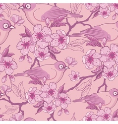 Birds among sakura flowers seamless pattern vector
