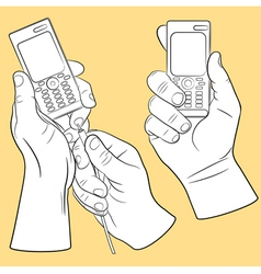 Hand and mobile phone set vector