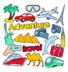 Time to travel adventure doodle with palms vector
