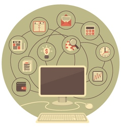 Computer as a Tool for Business in Gray Circle vector image