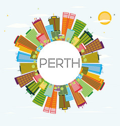 Perth skyline with color buildings blue sky and vector