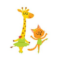 cute little giraffe and cat kitten characters vector image