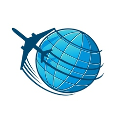 Plane flies around the earth vector image