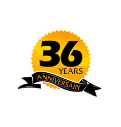36 years ribbon anniversary vector image