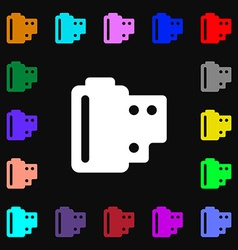 35 mm negative films icon sign lots of colorful vector