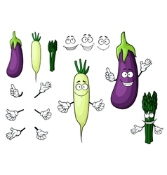 Eggplant white radish asparagus vegetables vector