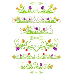 Tulip spring borders vector