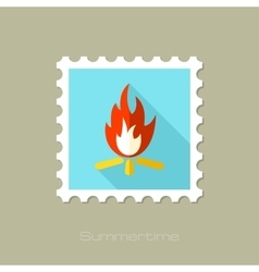 Bonfire flat stamp with long shadow vector