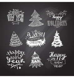Sketches christmas trees vector