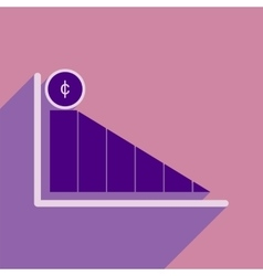 Modern flat icon with shadow economic graph vector