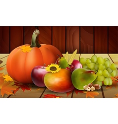 Fresh vegetables fruits and grape vector