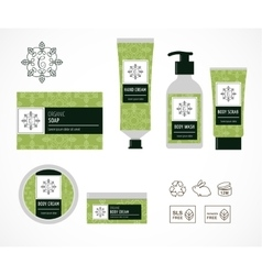 Set of natural cosmetics design packaging icons vector