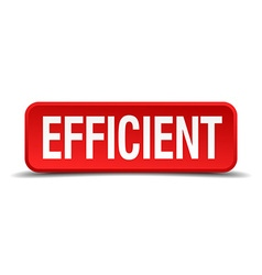 Efficient red 3d square button isolated on white vector