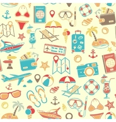 Vacation and Tourism Seamless Pattern vector image