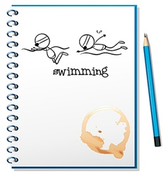 A notebook with a sketch of two people swimming vector image vector image